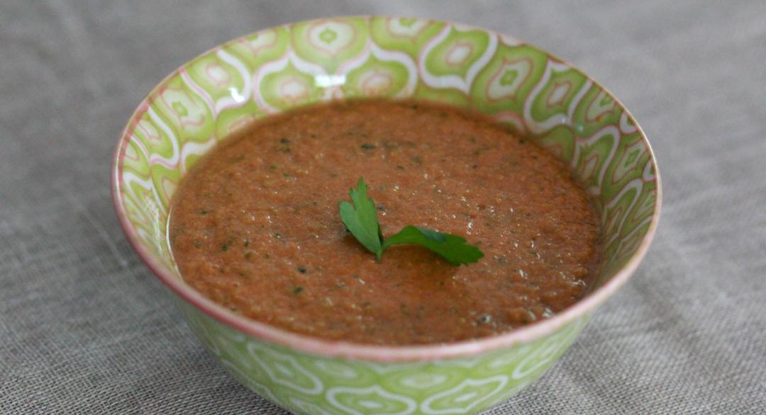 A bowl of gazpacho