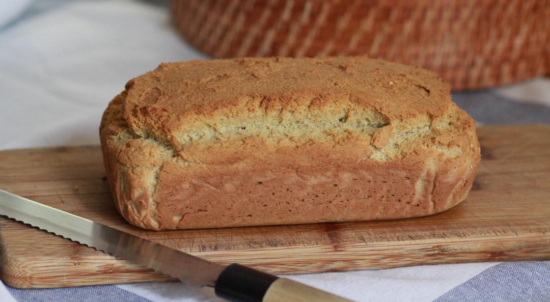 gluten free white bread on wooden board