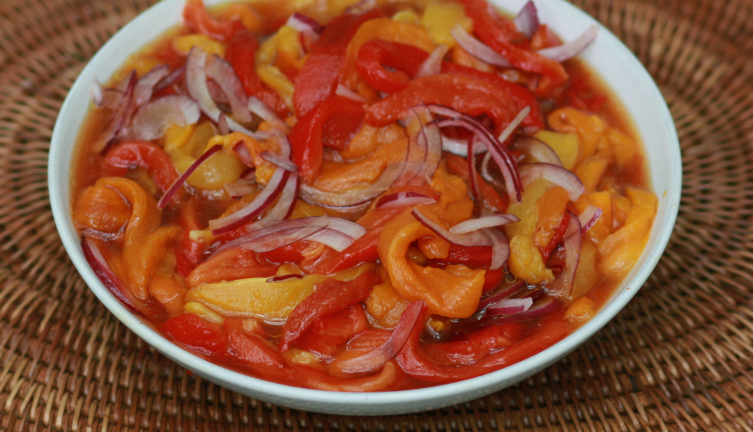 red pepper with onion slices