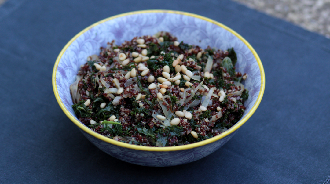 Red quinoa and kale salad