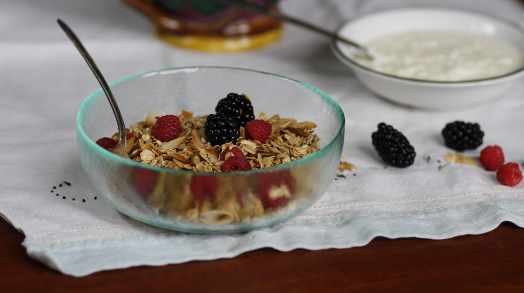 a bowl of granola and fruit
