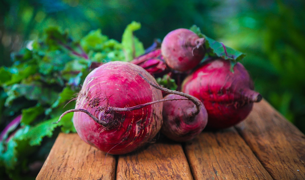 beets on a wooden board