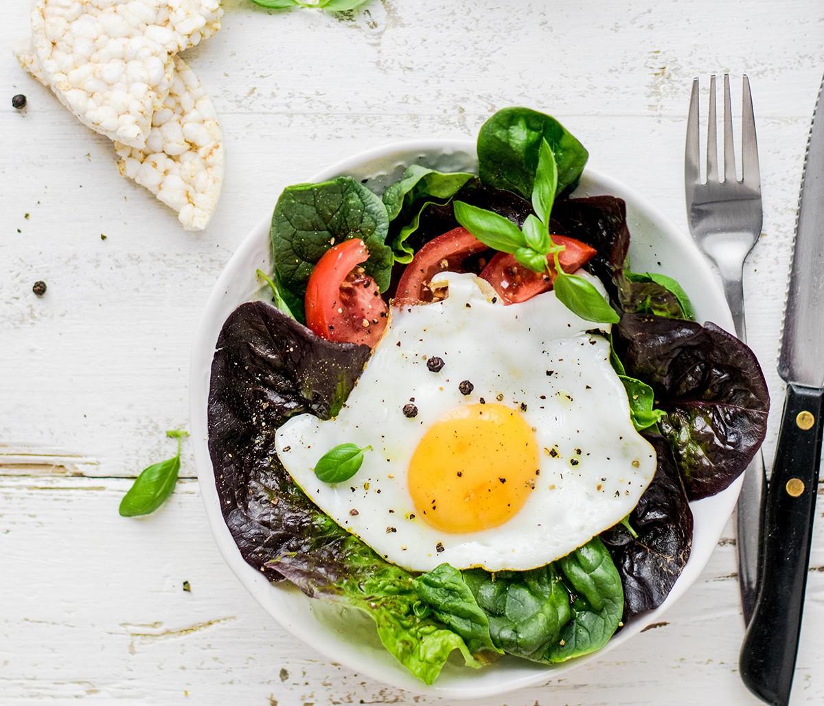 Breakfast eggs and salad