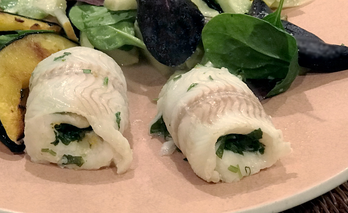 sole fillet rolls with herbs