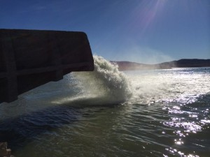 Truckee Canal ends at Lahontan Reservoir on Carson River