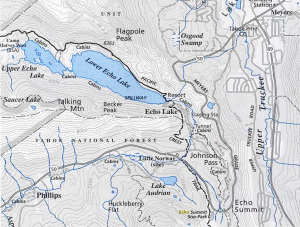 Echo Lake Water is diverted  to the American River by PG&E.