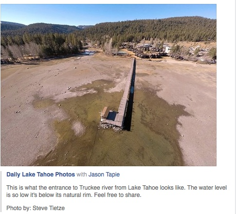 Credit: Steve Tietze Aerial view of the Tahoe outlet into the Truckee River in January 2015