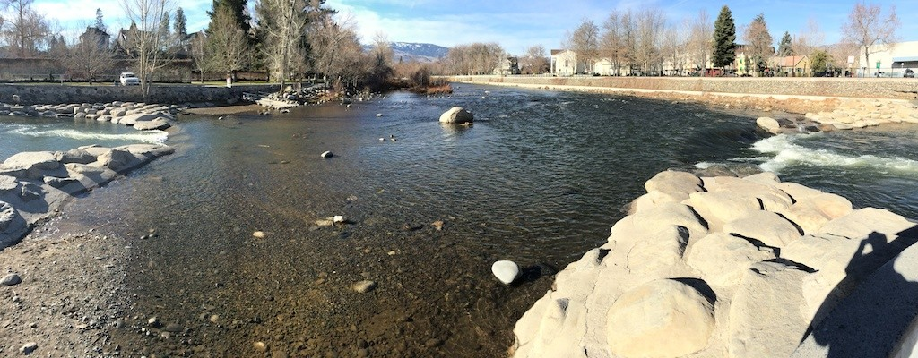 Truckee River, March 2015 - flows of 290 CFS through Reno are substantially below normal river flows.
