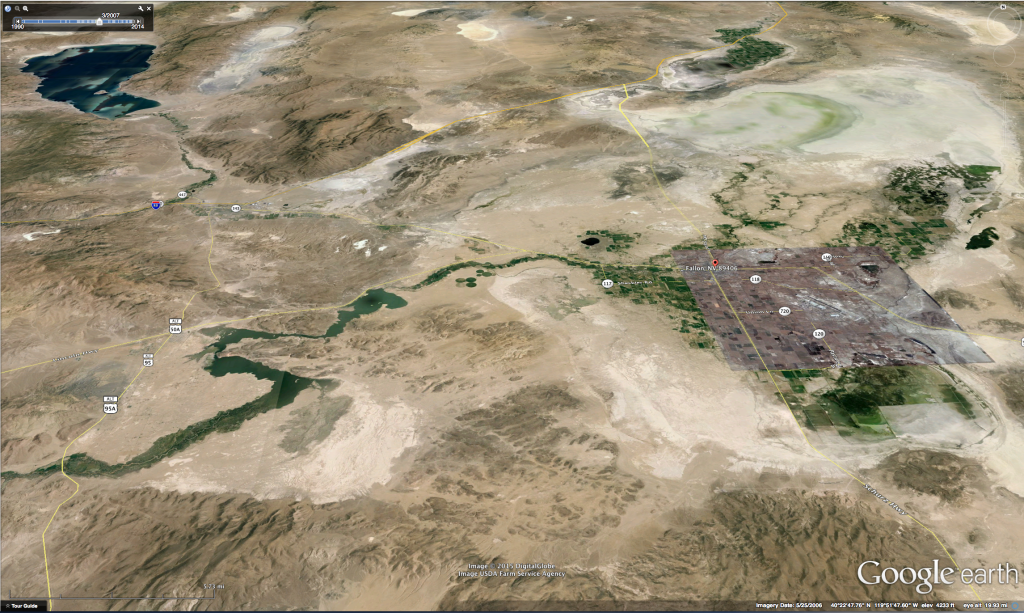 May 2006 Image showing more normal water conditions in area from Pyramid Lake in the NW to Carson Lake and Pasture in the SE of the image.