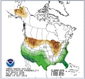NOAA precipitation forecast map for Jan-Mar 2015 (10-15-15)