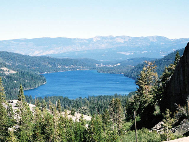 Donner Lake with the Carson Range in the background.