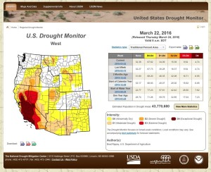Drought Monitor for March 22, 2016 shows significant drought remaining in western Nevada and California.