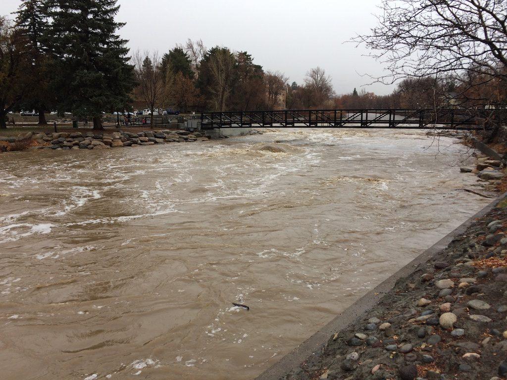 Truckee River at 4,000 CFS December 10, 2016 during Sierra rains.