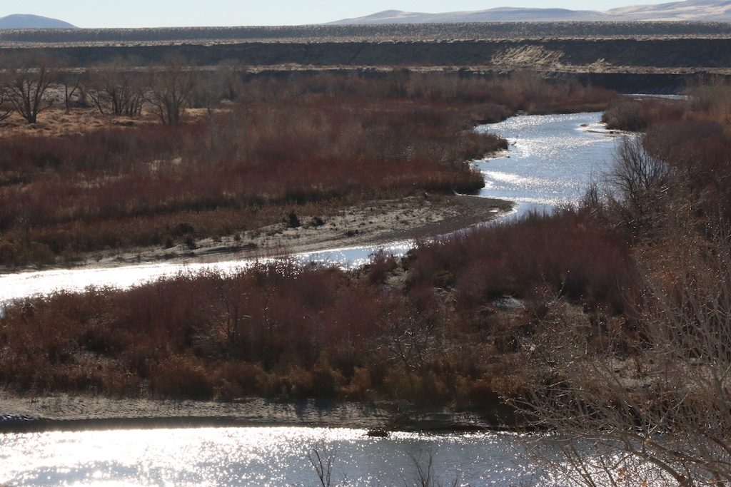 The Truckee River meanders just before entering Pyramid Lake on January 1, 2017.