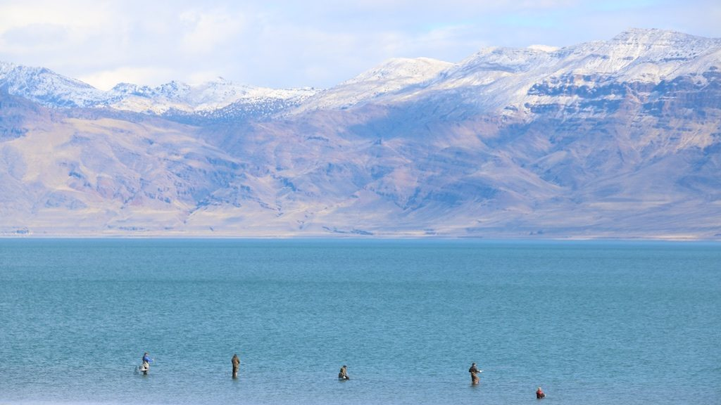 Fisherman at the North Nets on the reopening of Pyramid Lake to fishing since flood damage in early January.
