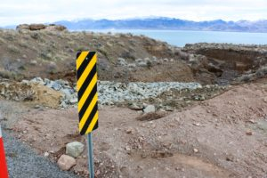 """Damage at a """"dry"""" stream crossing on SR 445 just north of Pelican Beach at Pyramid Lake"""