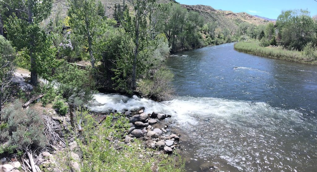 Hunter Creek cascades into the Truckee River at Mayberry Bridge near Mayberry Park in Reno.