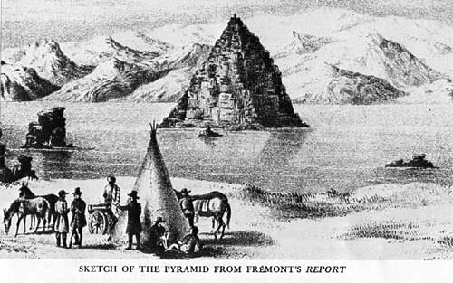 Sketch of the Pyramid from Fremont's Report on surveys in Nevada and California (1844)