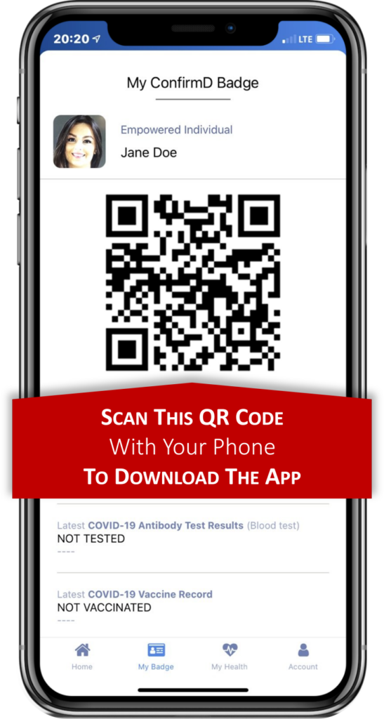 The ConfirmD mobile app user interface, with QR Code for sharing Covid-19 vaccine and test history data.