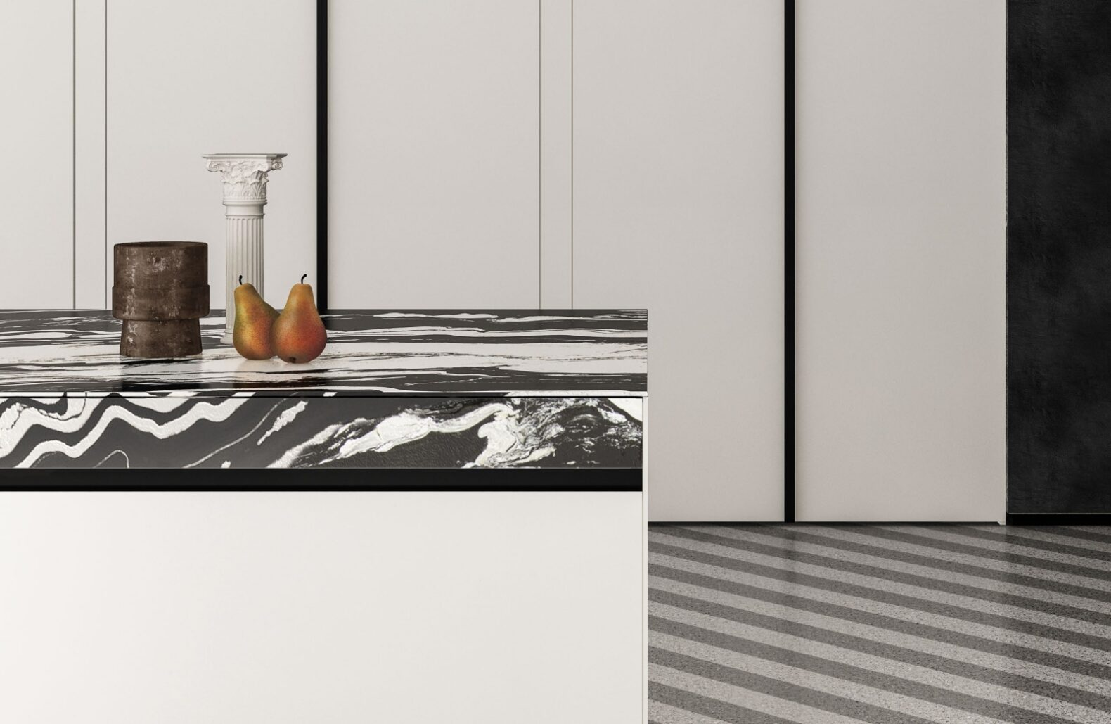 SEI in white FENIX and Copacobana Granite Detail