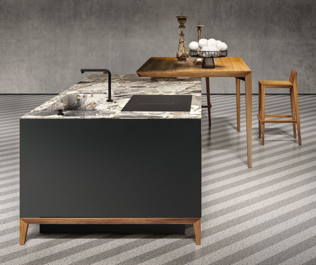 SEI with Black Fenix solid Elm table and Ocean Storm Marble top