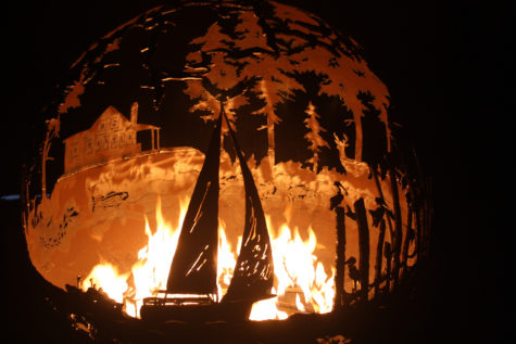 Sailboat fire pit sphere by Melissa Crisp of The Fire Pit Gallery