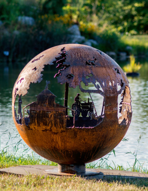 Appel Crisp Farms - Farm Fire Pit Sphere - Barn-Tractor-Farmre