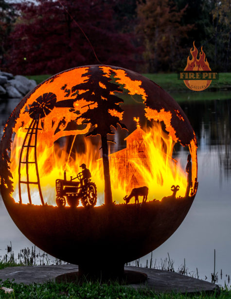 Appel Crisp Farms Fire Pit Sphere 05 - tractor-farmer-windmill-goat-The Fire Pit Gallery