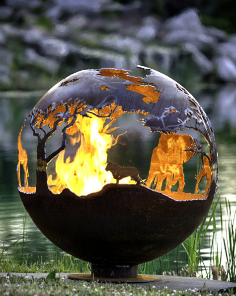 African_Safari_Fire_Pit_Sphere_Lion_2