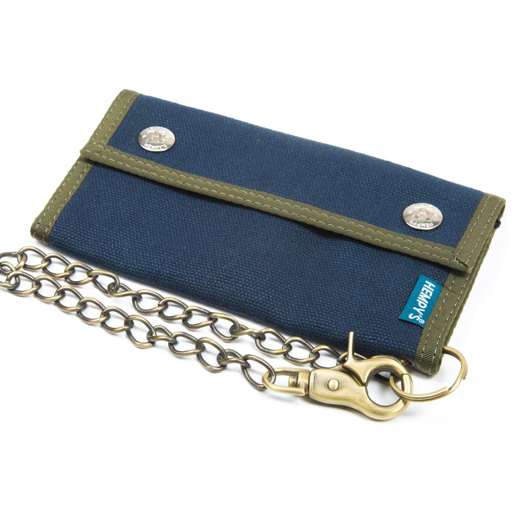 100 % Hemp Trucker Chain Wallet-Blue with Green Trim