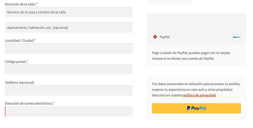 Formulario antes de completar la orden de pago en elmidi.com