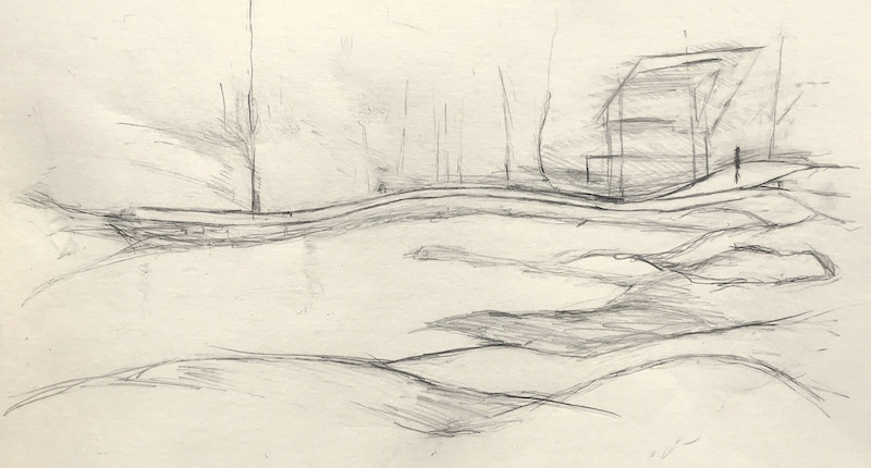 Physical distancing at Hendricks Head Beach (drawing by Peter Bruun)