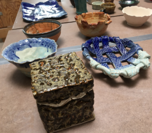 hand-built student ceramic artwork