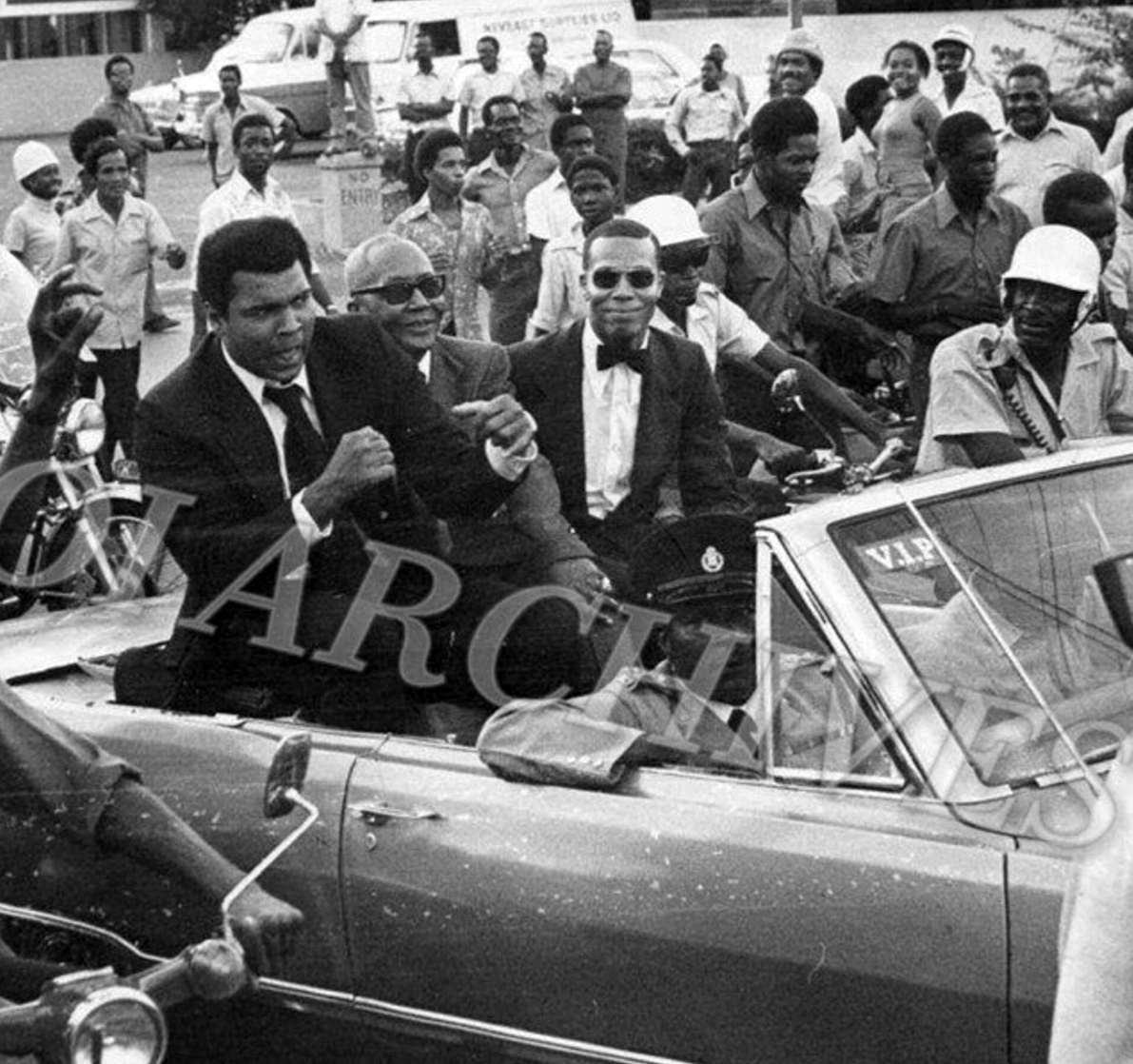 Heavyweight Champ Muhammad Ali, Minister Jam Muhammad ( Brother of The Most Honorable Elijah Muhammad) and The Honorable Minister Louis Farrakhan in Kingston, Jamaica. December 1974. (Via @NOIArchives)