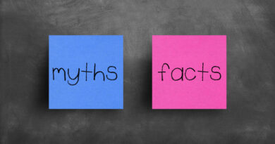 """Two sticky notes on a blackboard; """"myths"""" and """"facts"""""""