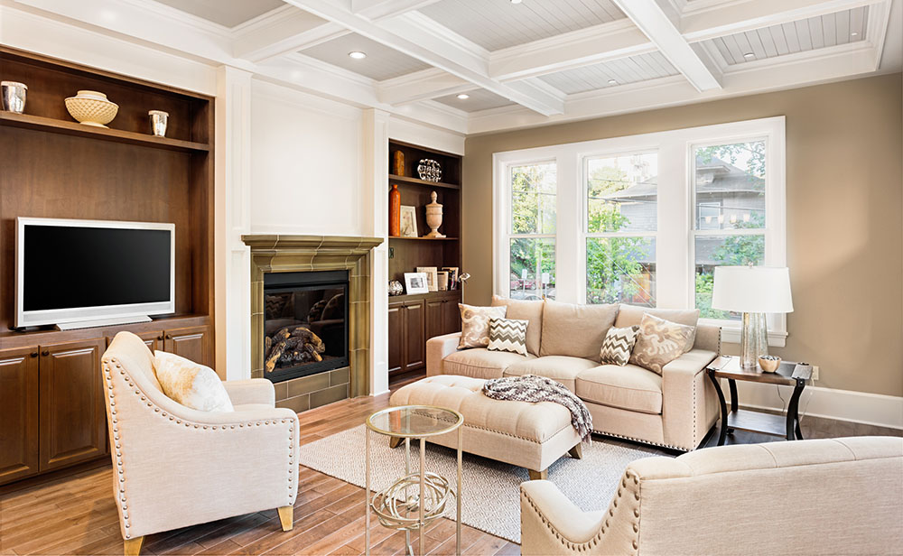 coffered-ceiling-living-room-residential-painters
