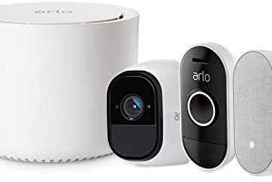 Arlo Smart Home Security Kit with Arlo Pro Camera [Rechargeable, Night Vision, Indoor/Outdoor, HD, 2-Way Audio], Doorbell [Wire-Free, Weather-Resistant], and Chime. Works with Amazon Alexa