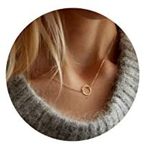 Dainty Disc Chokers Necklace Layered Circle Necklace Bar Y Pendant Necklace 14K Real Gold Plated Necklace for Women