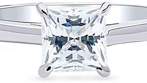 BERRICLE Rhodium Plated Sterling Silver Solitaire Promise Engagement Ring Made with Swarovski Zirconia Princess Cut 1.3 CTW