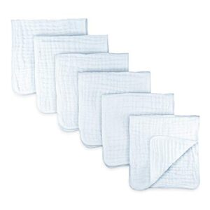 Comfy Cubs Muslin Burp Cloths 6 Pack Large 100% Cotton Hand Washcloths 6 Layers Extra Absorbent and Soft (White)