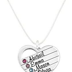 AJ's Collection Personalized Sterling Silver Heart Name Necklace with Swarovski Birthstone. Customize with Names of Your Choice and Their Birth Stones