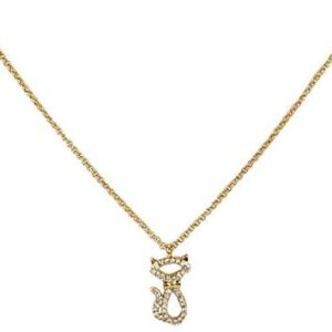 Kate Spade Jazz Things Up Pave Cat Pendant Necklace, Clear