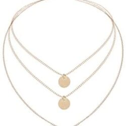 Tgirls Layered Necklaces with Pendant for Women and Girls XL-66 (Gold)