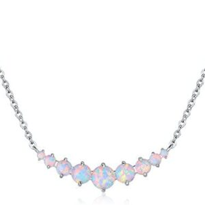 Barzel 18K White Gold Plated or Rose Gold Plated Created White Opal Graduated Necklace