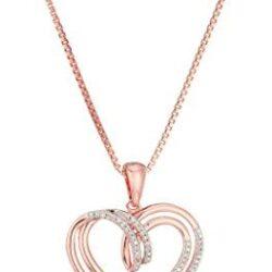 Sterling Silver Diamond Double Heart Pendant Necklace (1/10 cttw)