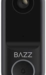 BAZZ WFDBELL1 Smart Home Wi-Fi Doorbell, HD Camera, Two-Way Audio, Alexa Compatible, No Hub Required