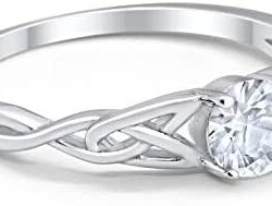 Blue Apple Co. Celtic Trinity Ring Solid 925 Sterling Silver Wedding Engagement Promise Ring Solitaire Choose Color