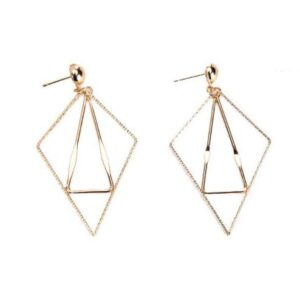 Chargances Geometric Triangle Earring Metal Simple Drop Dangle Earrings Gold Bohemian Dangling Costume Earring For Women Girls Prom Birthday Party Gift Fashion Jewelry (gold)