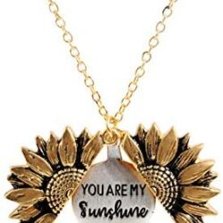 sloong You are My Sunshine Engraved Necklace for Mom Sunflower Locket Necklace