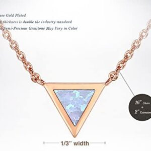 PAVOI 14K Gold Plated Triangle Created Opal Necklace | Opal Necklaces for Women